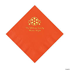 Orange Movie Night Personalized Napkins with Gold Foil – Luncheon