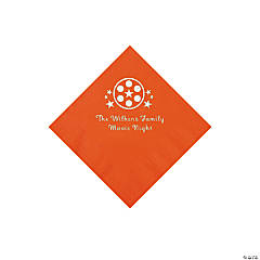 Orange Movie Night Personalized Napkins with Silver Foil – Beverage