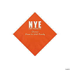 Orange New Year's Eve Personalized Napkins with Silver Foil - Beverage