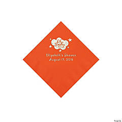 Orange Oh Baby Personalized Napkins with Silver Foil - Beverage