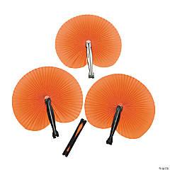 Orange Paper Fans (12 pc)