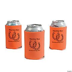 Orange Personalized Horseshoe Can Coolers