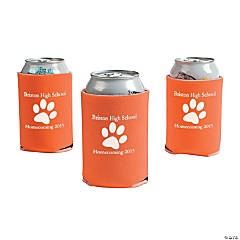 Orange Personalized Paw Print Can Coolers