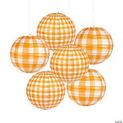 Orange Plaid Hanging Paper Lanterns