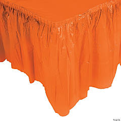 Orange Plastic Pleated Table Skirt