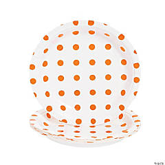 Orange Polka Dot Paper Dessert Plates - 8 Ct.