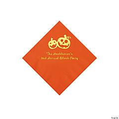 Orange Pumpkin Personalized Napkins with Gold Foil - Beverage