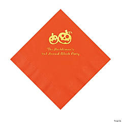 Orange Pumpkin Personalized Napkins with Gold Foil – Luncheon