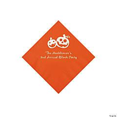 Orange Pumpkin Personalized Napkins with Silver Foil - Beverage