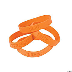 Orange Ribbon Awareness Sayings Rubber Bracelets