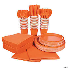 Orange Tableware Party Pack for 48