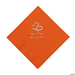 Orange Two Hearts Personalized Napkins with Silver Foil - Beverage