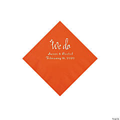 Orange We Do Personalized Napkins with Silver Foil - Beverage