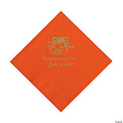 Orange Wedding Bells Personalized Napkins with Gold Foil - Luncheon