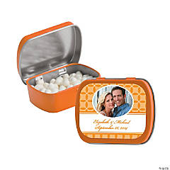 Orange Wedding Design Custom Photo Mint Tins