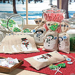 Painted Canvas Snowman Drawstring Treat Bags
