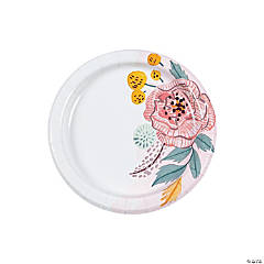 Painted Floral Paper Dessert Plates - 8 Ct.