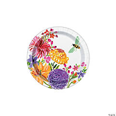 Painted Spring Floral Paper Dessert Plates - 8 Ct.