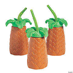 Palm Tree Cups with Lids & Straws