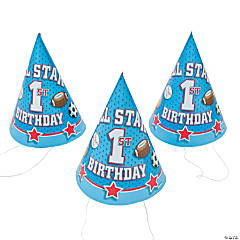 """Paper """"1st Birthday All Star"""" Cone Hats"""