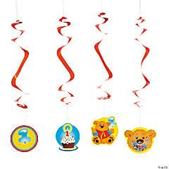 Paper 1st Birthday Bear Hanging Swirls