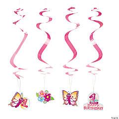 Paper 1st Birthday Butterfly Hanging Swirl Decorations - 12 Pc.