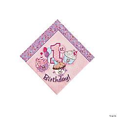 Paper 1st Birthday Cupcake Beverage Napkins