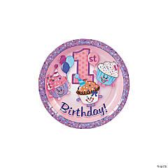 Paper 1st Birthday Cupcake Dessert Plates
