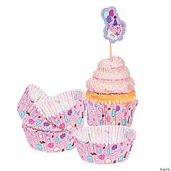 Paper 1st Birthday Cupcake Liners with Picks