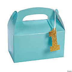 Paper 1st Birthday Light Blue Birthday Treat Boxes with Tag
