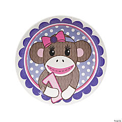 Paper 1st Birthday Miss Sock Monkey Dinner Plates