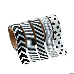 Paper Black & White Patterned Washi Tape Set