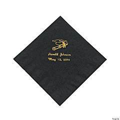 Paper Black Graduation Personalized Lunch Napkins with Gold Print