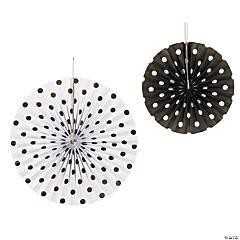 Paper Black Polka Dot Hanging Fans