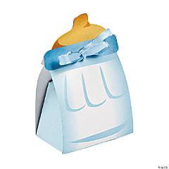 Paper Blue Baby Bottle Treat Boxes