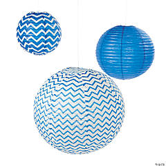 Paper Blue Chevron Lanterns