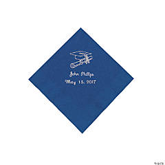 Paper Blue Grad Personalized Beverage Napkins with Silver Print