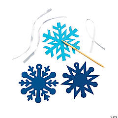 Paper Blue Magic Color Scratch Snowflake Christmas Ornaments