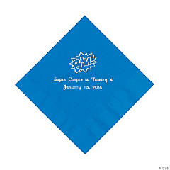 Paper Blue Personalized Superhero Luncheon Napkins - Silver Foil