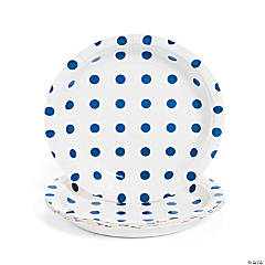 Paper Blue Polka Dot Dessert Plates