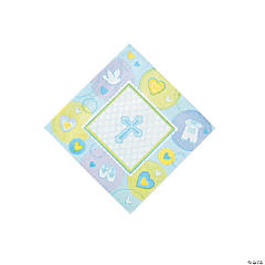 Paper Blue Sweet Christening Beverage Napkins