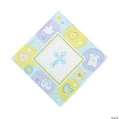 Paper Blue Sweet Christening Luncheon Napkins