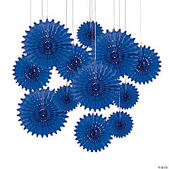 Paper Blue Tissue Hanging Fans
