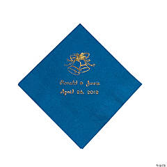 Paper Blue Wedding Personalized Beverage Napkins with Gold Foil