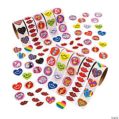 Paper Bulk Valentine Rolls of Stickers Assortment - 10 rolls