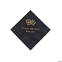 Paper Casino Black Personalized Beverage Napkins with Gold Foil