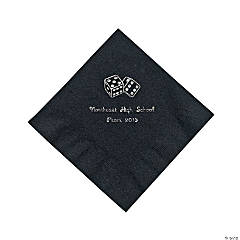 Paper Casino Black Personalized Luncheon Napkins with Silver Foil