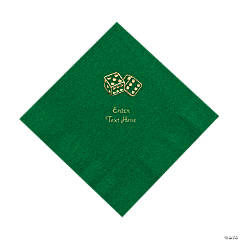 Paper Casino Green Personalized Luncheon Napkins with Gold Foil