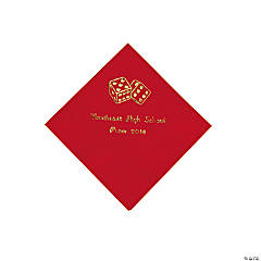 Paper Casino Red Personalized Beverage Napkins with Gold Foil