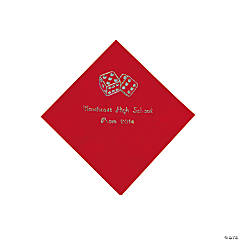 Paper Casino Red Personalized Beverage Napkins with Silver Foil